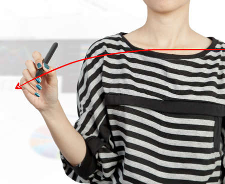 woman hand drawing chart red arrow photo