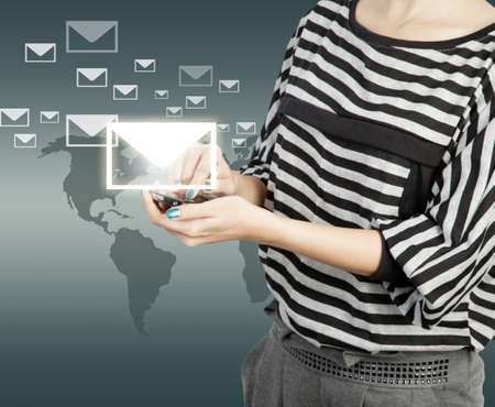 women touch smart phone in hand with email social network photo