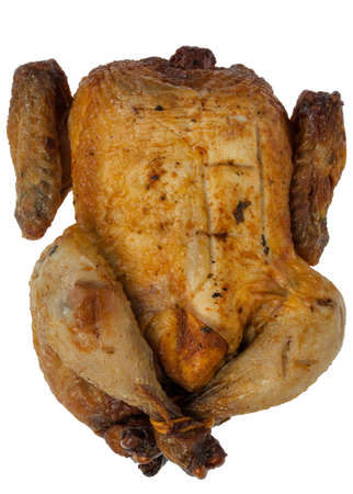 Roasted chicken or turkey on white background photo