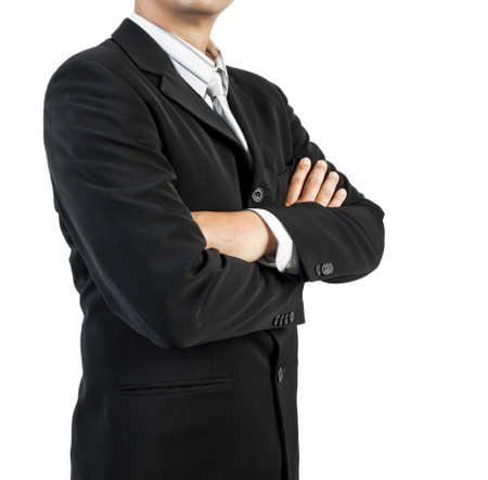 business man standing with confidence on white background photo