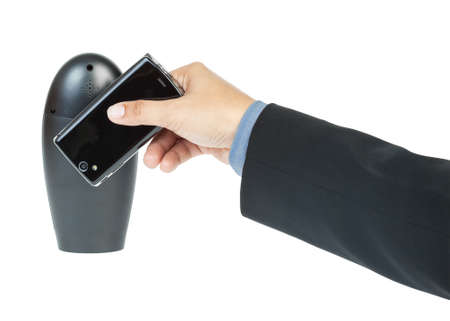 business man holding smartphone as NFC - Near field communication concept Stock Photo - 16152568
