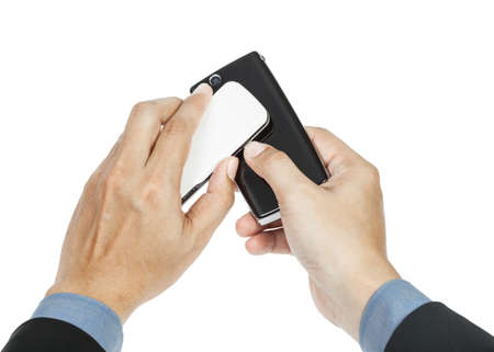 business man holding smartphone as NFC - Near field communication concept Stock Photo - 16152818