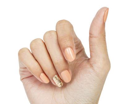 polish girl: Women hands with nail manicure closeup