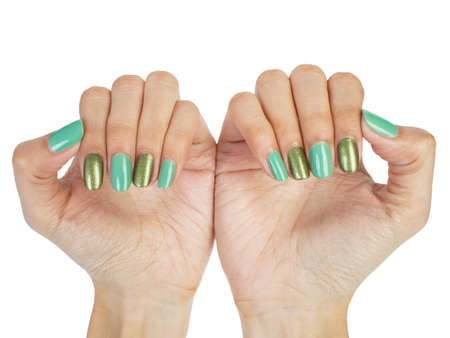 Women hands with nail manicure photo