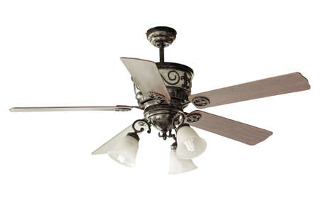 fan ceiling: wood blades Ceiling fan isolated Stock Photo