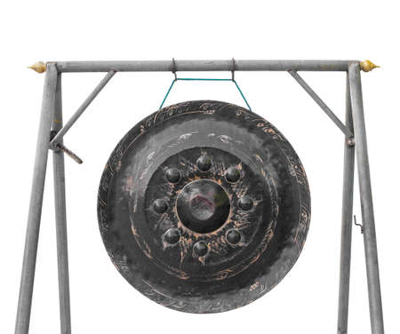 exotic gleam: old gong in thai temple Stock Photo
