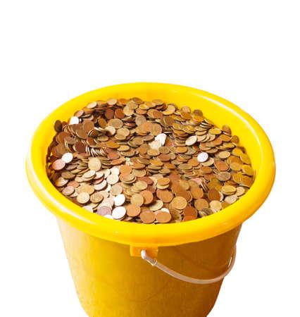 bucket of money: Bucket with money on white background Stock Photo