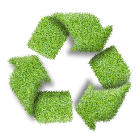 Recycle logo symbol from the green grass, isolated on white photo
