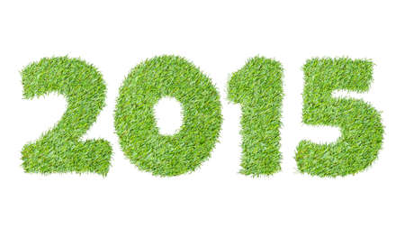 New year 2015 from the green grass, isolated on white photo