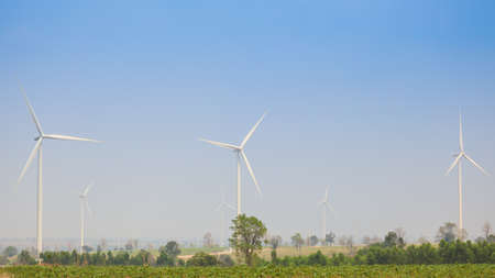 Eco power, wind turbines field Stock Photo - 18489271