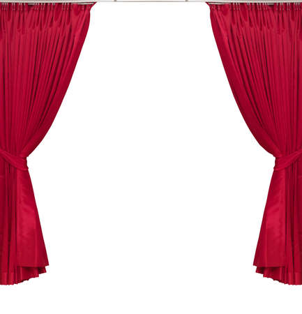 red curtains on white background photo