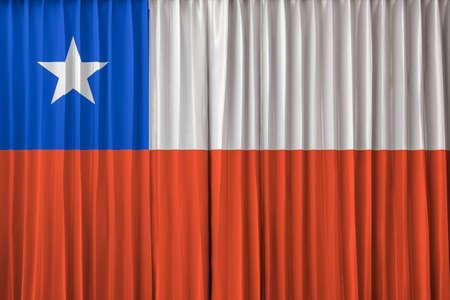 bandera chile: Bandera de Chile en la cortina Foto de archivo
