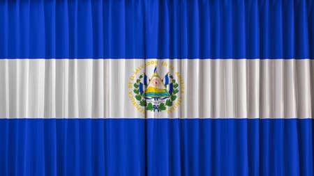 bandera de el salvador: Bandera de El Salvador en la cortina