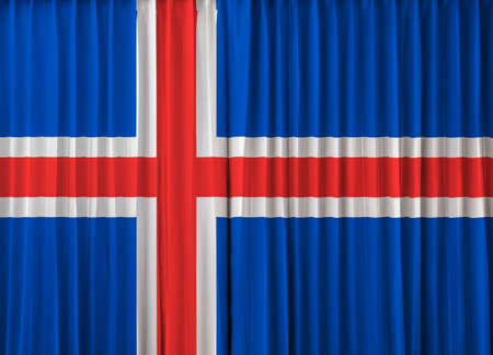 iceland flag: Iceland flag on curtain