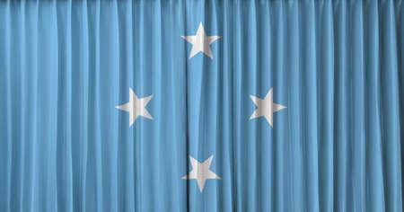 micronesia: Micronesia flag on curtain Stock Photo