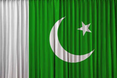 pakistan flag: Pakistan flag on curtain Stock Photo