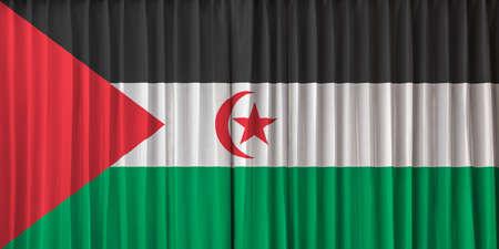 sahrawi arab democratic republic: The Sahrawi Arab Democratic Republic flag on curtain Stock Photo