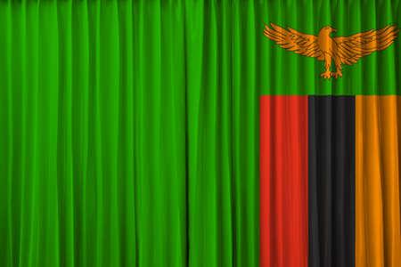 zambia flag: Zambia flag on curtain
