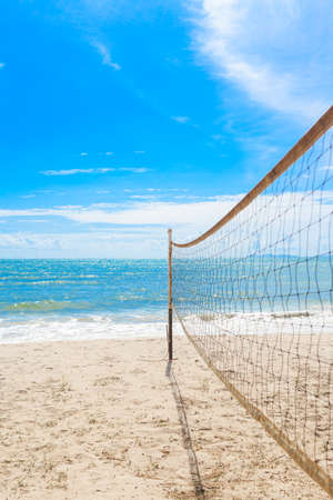 volleyball net: beach volleyball net on the beach with blue sky
