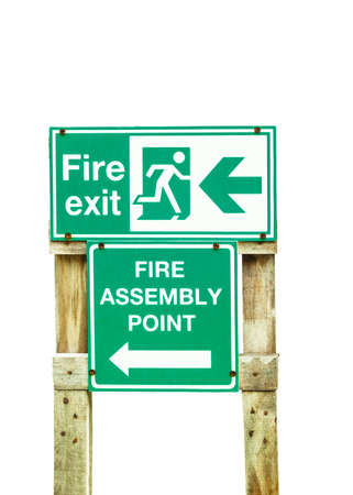 Fire exit wood sign photo