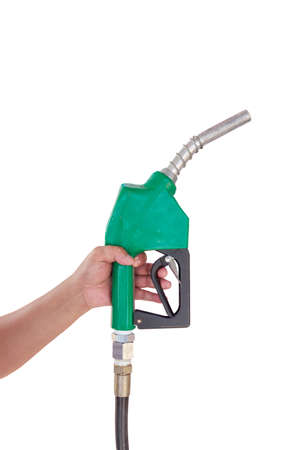 Male hand holding gas with pump isolated on white photo