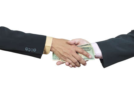businessman hand and money to other for corruption concept on white background photo