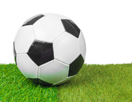 soccer ball on the field, white background photo