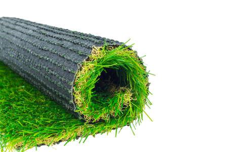 pasto sintetico: El césped artificial rollo de hierba verde Foto de archivo