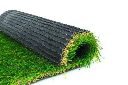 carpet grass: Artificial turf green grass roll on white background