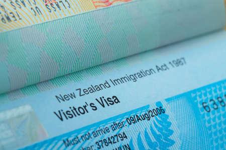 旅行の概念の背景、ニュージーランドのパスポート スタンプ ビザ 写真素材