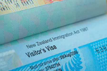 authorisation: Passport stamp visa for travel concept background, New Zealand