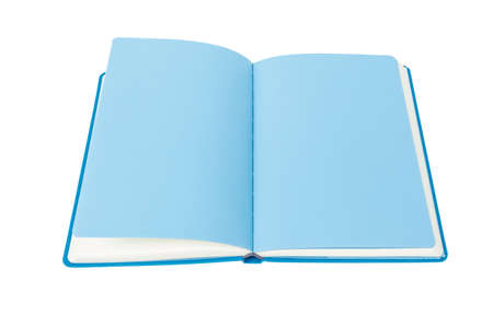 Open Book blue page on white background photo