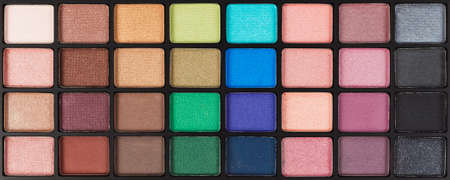 colorful cosmetic eyeshadow palette set and makeup photo