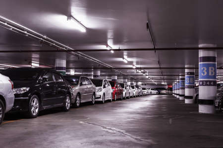 indoors: Underground car parking lot