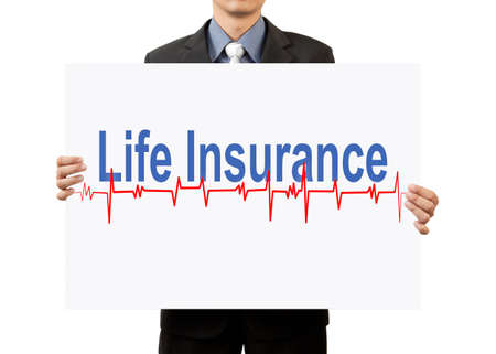 businessman holding life insurance on white background photo
