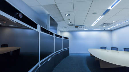 conference room meeting: teleconferencing, video conference and telepresence business meeting room