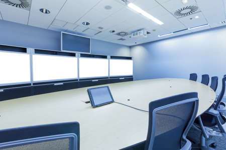 teleconferencing, video conference and telepresence business meeting room