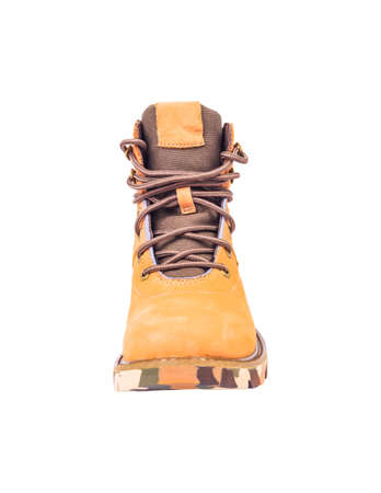 boots brown color on white background photo