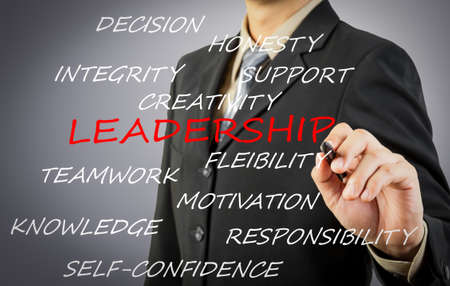 Businessman hand writing leadership concept photo