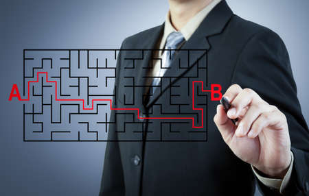 Businessman finding the solution from A to B photo