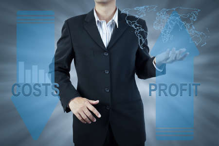 business man standing and presents cost and profit, finance technology concept background photo