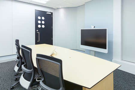 conference call: teleconferencing, video conference and telepresence business meeting room with display screen