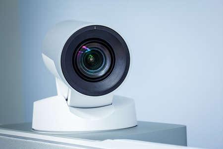 teleconference: teleconference, video conference or telepresence camera closeup