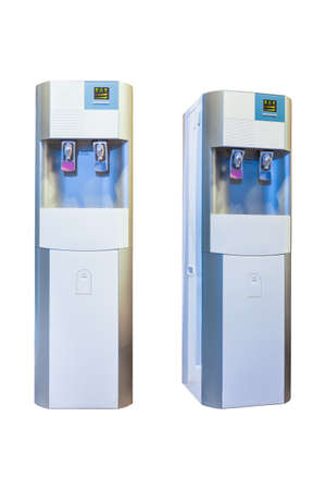 hot water tap: Electric water cooler machine isolated on a white background