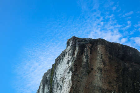taking the plunge: cliff edge and blue sky
