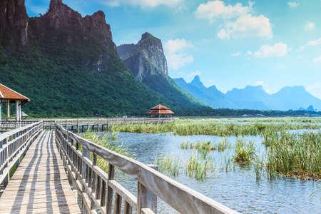 Wooden bridge and lake in Sam Roi Yod National Park, Prachuap Khiri Khan, Thailand photo