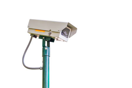 ir: cctv camera security on white background for safety concept