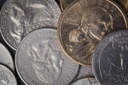 in god we trust: Group of US American coin with wording in God we trust Stock Photo