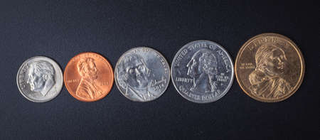 in god we trust: Group of US American coin with wording in God we trust respectively Stock Photo