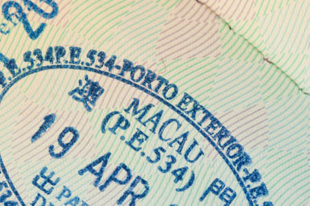 admitted: admitted stamp of macau Visa for immigration travel concept Stock Photo